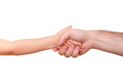 Hand shake of the child and father Royalty Free Stock Images
