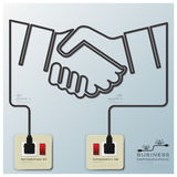 Hand Shake Electric Line Business Infographic Royalty Free Stock Image