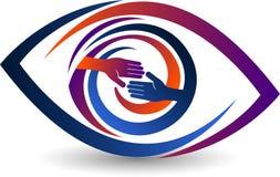 Hand shake eye logo. Illustration art of a hand shake eye logo with isolated background Stock Image