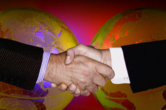 HAND SHAKE GLOBAL TECHNOLOGY BUSINESS INDUSTRY Royalty Free Stock Photo
