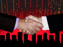 HAND SHAKE HIGH TECH TECHNOLOGY CITYSCAPE Stock Images