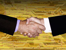 HAND SHAKE HIGH TECH TECHNOLOGY Stock Image