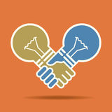 Hand shake idea with bulb. Hand shake idea, with bulb Stock Images