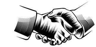 Hand shake. Line art black and white hand shake clip art image Stock Photo