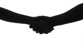 Hand shake man woman silhouette Royalty Free Stock Photo