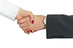 Hand shake of man and woman on white background Royalty Free Stock Images