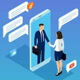 Hand shake through mobile screen. Flat design isometric vector concept with man and woman shaking hands through mobile screen for business mobile network stock illustration