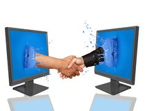 Hand shake- online deal. In front of white background Royalty Free Stock Image