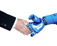 Hand shake with robot. A conceptrual image of a hand shake between a business man and a robot. Close up shot a aginst a white background Stock Photography