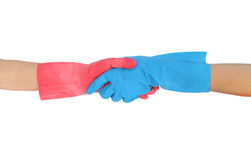Hand shake in a rubber gloves isolated on white background Stock Photo