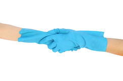 Hand shake in a rubber gloves isolated on white background Royalty Free Stock Photos