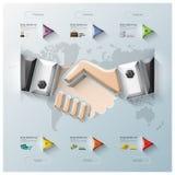 Hand Shake Three Dimension Polygon Business Infographic Stock Image