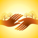 Hand shake with trees Stock Image