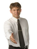 Hand shake of the young businessman Stock Images