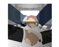 HAND SHAKES IN MEETING ROOM royalty free illustration