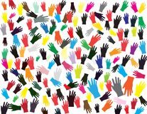 Hand shape colorful pattern on white background. Royalty Free Stock Photography
