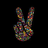 Hand shape  with victory sign. Vector illustration of hand shape  with victory sign made up a lot of  multicolored small flowers on the black background Stock Photos