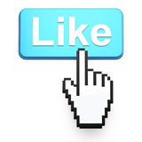 Hand-shaped mouse cursor press Like button. On dark background Royalty Free Stock Image