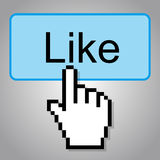 Hand-shaped mouse cursor press Like button Royalty Free Stock Photography