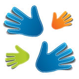 Hand shaped  stickers / tags Royalty Free Stock Photography