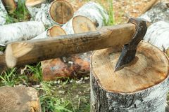 Hand sharply sharpened ax, for cutting wood. Ax in the wood stock photo