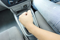 Hand on shift knob Royalty Free Stock Photo