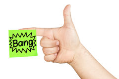 Hand Shooting Finger Gun Post-it Bang Isolated Royalty Free Stock Photos