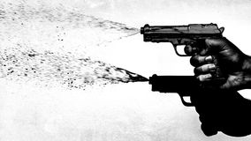 Hand shooting water pistol 70's style, black and white Royalty Free Stock Photography