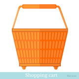 Hand shoping orange basket back view Stock Image
