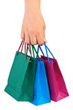 Hand with shopping bags Royalty Free Stock Photography