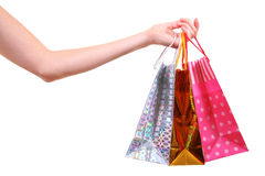 Hand with shopping bags Royalty Free Stock Photo