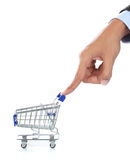 Hand and shopping cart Royalty Free Stock Images