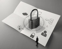 Hand show cloud network diagram with padlock Royalty Free Stock Photos