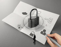 Hand show cloud network diagram with padlock Royalty Free Stock Photo