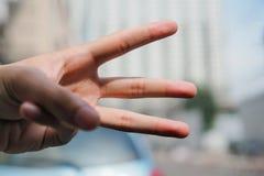 Hand show E. Sign language Stock Photos