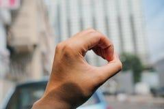 Hand show o. Sign language royalty free stock image