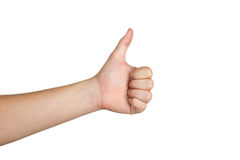 Hand show ok sign on white background Royalty Free Stock Photos