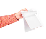Hand show the opened notebook Royalty Free Stock Photos