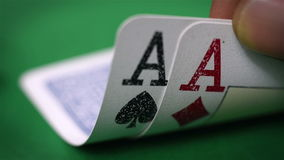 Hand show pair of aces. Extra close up stock video