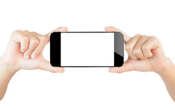 Hand show smartphone isolated white clipping path inside Royalty Free Stock Images