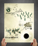 Hand show social network structure poster Royalty Free Stock Photography