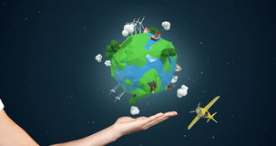 Hand showing aircraft traveling around the world. Digitally generated of hand showing aircraft traveling around the world against night background stock video
