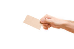 Hand showing blank business card. On white background Royalty Free Stock Photos