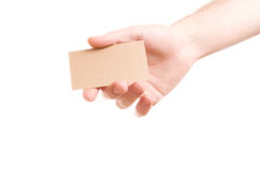 Hand showing blank business card Stock Photos