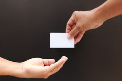 Hand showing the blank business card Stock Photography