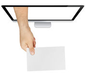 Hand Showing Blank Card Screen Isolated Stock Photos