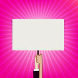 Hand showing blank sign board on sunburst background vector illu Royalty Free Stock Photography