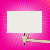 Hand showing blank sign board on sunburst background vector illu Stock Images