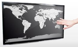 Hand showing blank world map Royalty Free Stock Photos