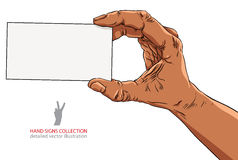 Hand showing business card, African ethnicity, detailed Royalty Free Stock Image
